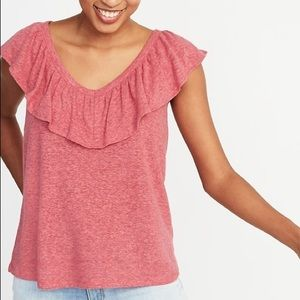 Linen Ruffle Neck Top Pink & Red Old Navy Blouse